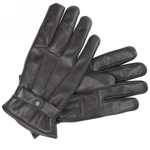 Dark Brown Barbour Mens Burnished Leather Gloves