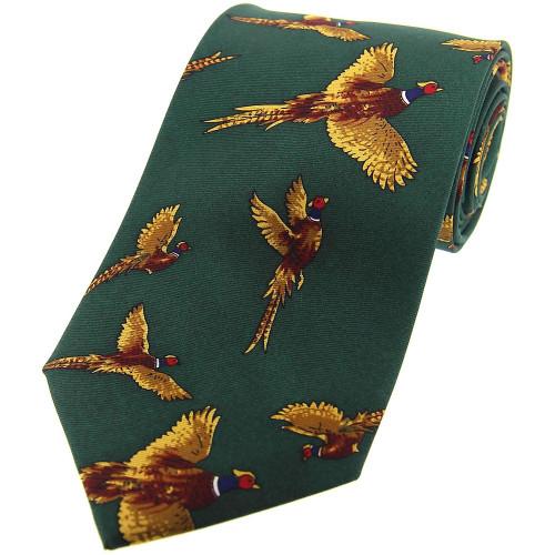 Heritage 1845 Silk Tie Flying Pheasant Green