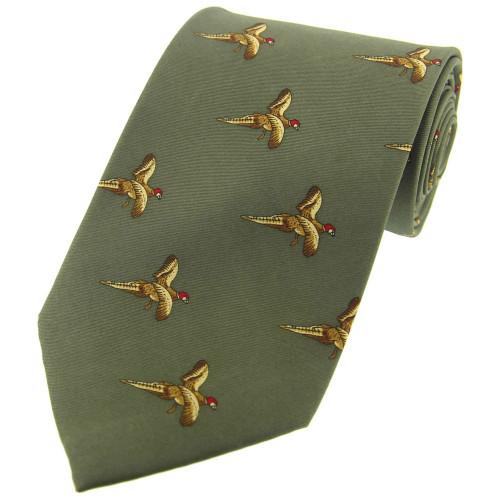 Heritage 1845 Silk Tie Flying Pheasants Country Green