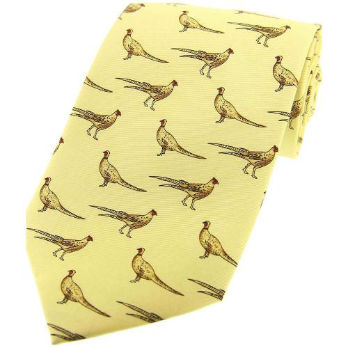 Heritage 1845 Silk Tie Standing Pheasant Pastel Yellow