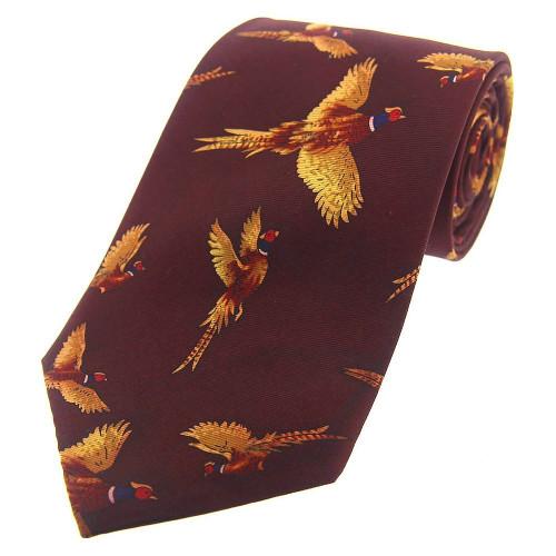 Heritage 1845 Silk Tie Flying Pheasant Wine