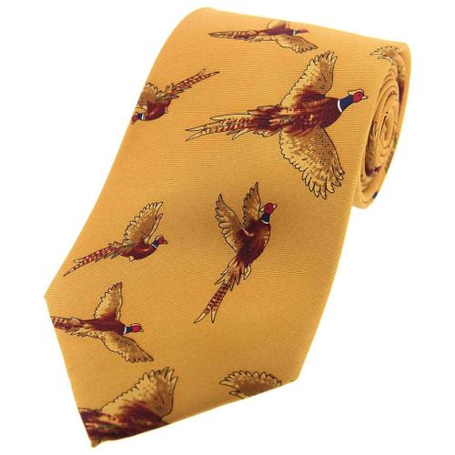 Heritage 1845 Silk Tie Flying Pheasant Mustard