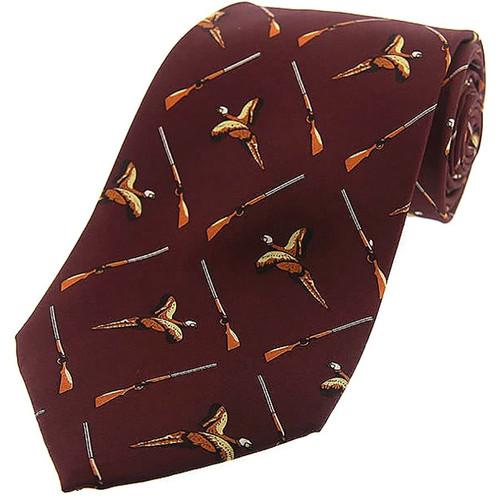 Heritage 1845 Silk Tie Birds and Guns Burgundy