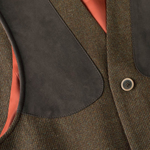 Musto Stretch Technical Tweed Waistcoat - Shoulder Patch Detail