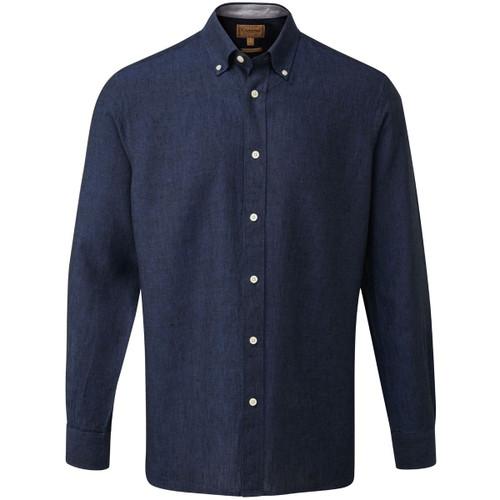 Navy/ Grey Schoffel Mens Sandbanks Linen Shirt