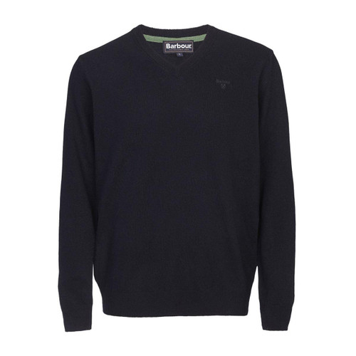 Navy Barbour Mens Essential Lambswool V Neck Sweater