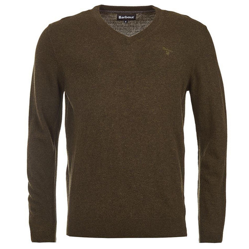 Olive Marl Barbour Mens Essential Lambswool V Neck Sweater