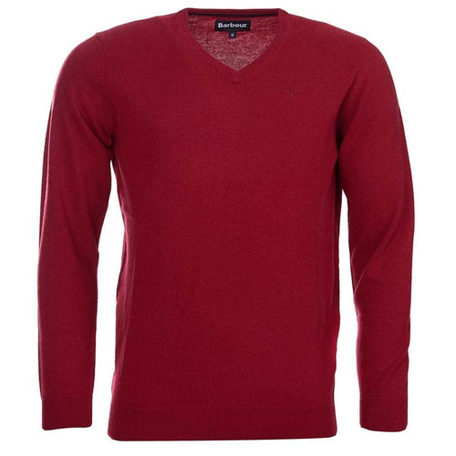 Biking Red Barbour Mens Essential Lambswool V Neck Sweater