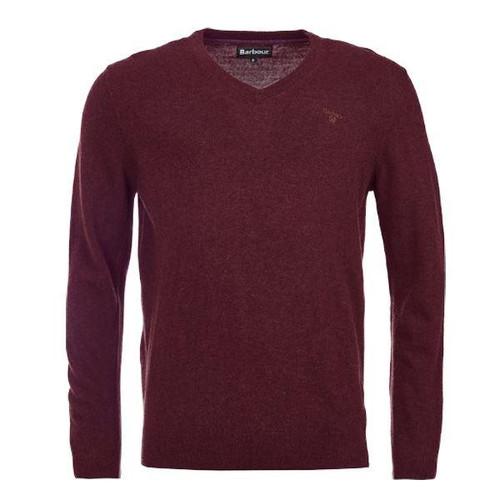 Merlot Barbour Mens Essential Lambswool V Neck Sweater