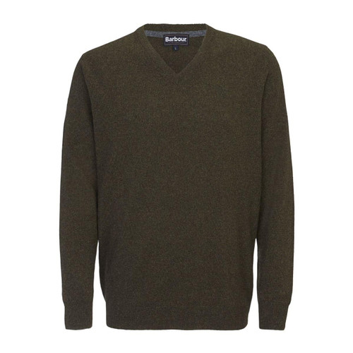 Seaweed Barbour Mens Essential Lambswool V Neck Sweater