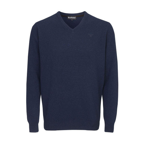 Deep Blue Barbour Mens Essential Lambswool V Neck Sweater