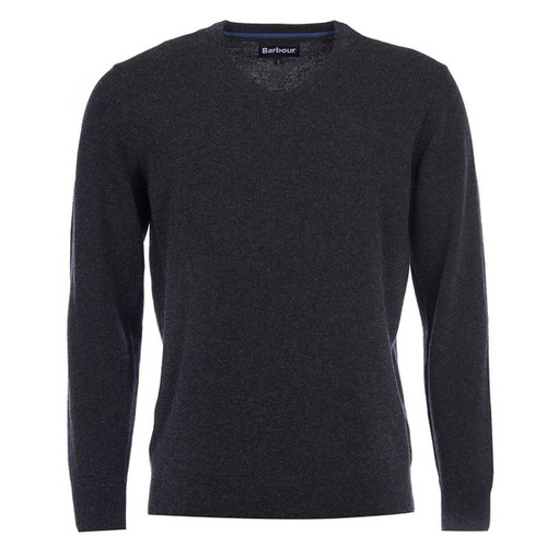 Charcoal Barbour Mens Essential Lambswool V Neck Sweater