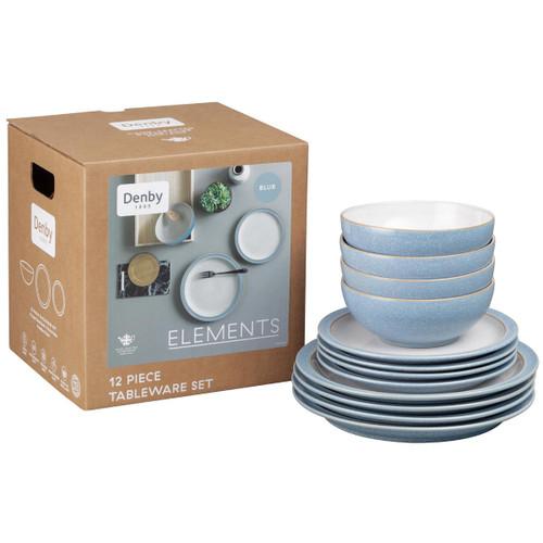 Denby Elements Light Blue 12 Piece Tableware Set
