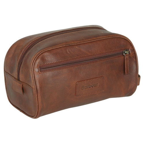 Barbour Unisex Dark Brown Leather Wash Bag