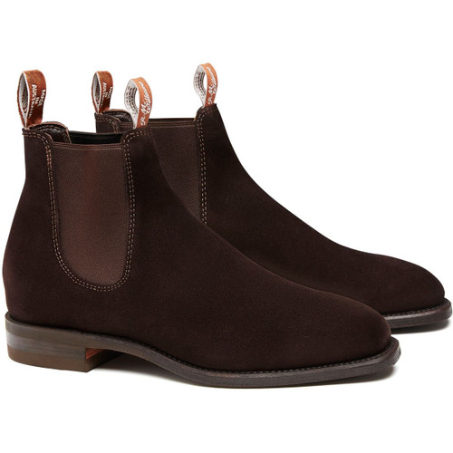 Chocolate Brown R.M. Williams Mens Suede Comfort Craftsman Boots