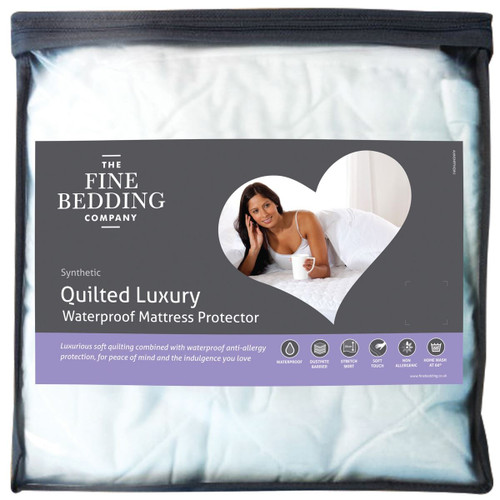 The Fine Bedding Company Quilted Luxury Waterproof Mattress Protector packaging