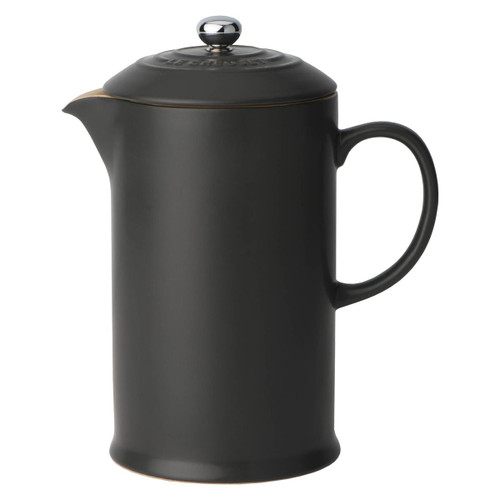 Satin Black Le Creuset Stoneware Cafetiere With Metal Press