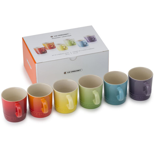 Le Creuset Stoneware Rainbow Set Of 6 Espresso Mugs