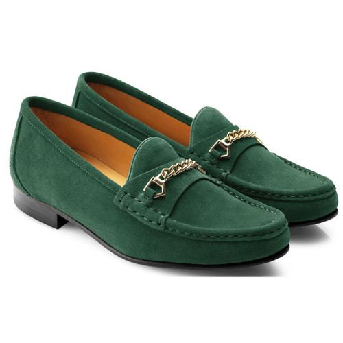 Emerald Green Fairfax & Favor Womens Apsley Suede Loafer