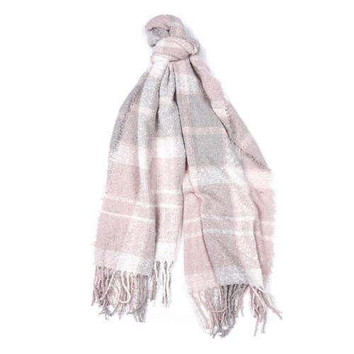 Soft Pink/Grey Barbour Tartan Boucle Scarf