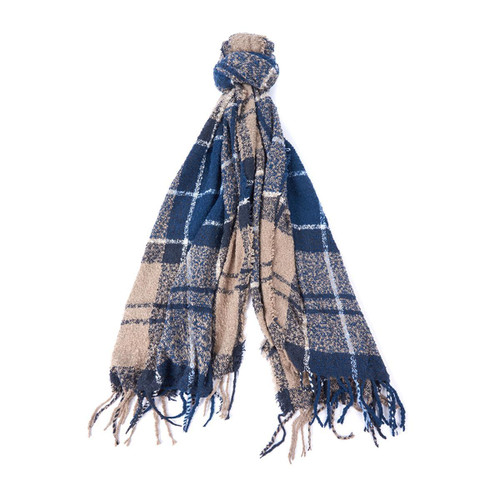 Blue Trench Barbour Tartan Boucle Scarf