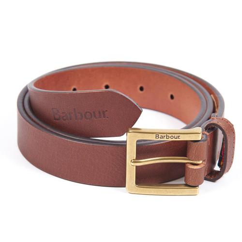 Dark Tan Barbour Pull Up Leather Belt