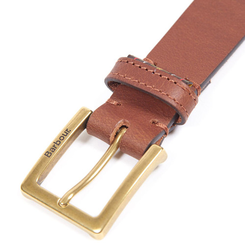Dark Tan Barbour Pull Up Leather Belt Buckle