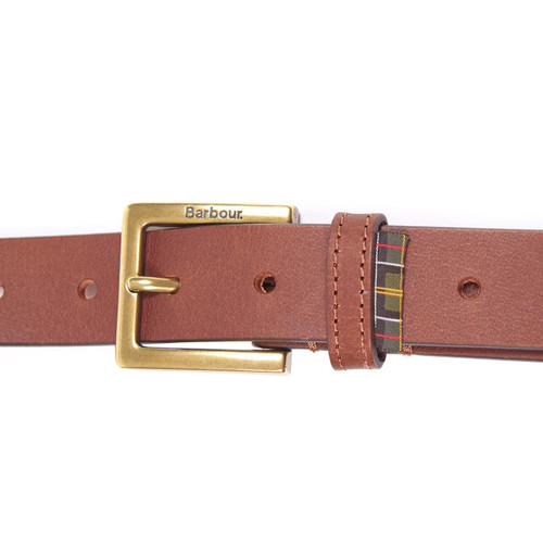 Dark Tan Barbour Pull Up Leather Belt Buckle Closed