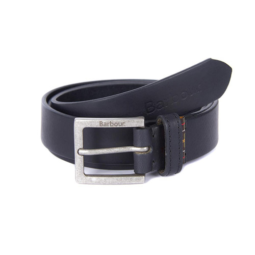 Black Barbour Pull Up Leather Belt