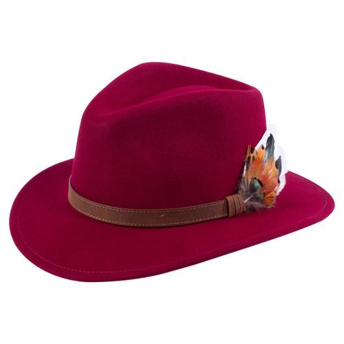 Bordeaux Alan Paine Unisex Richmond Felt Hat