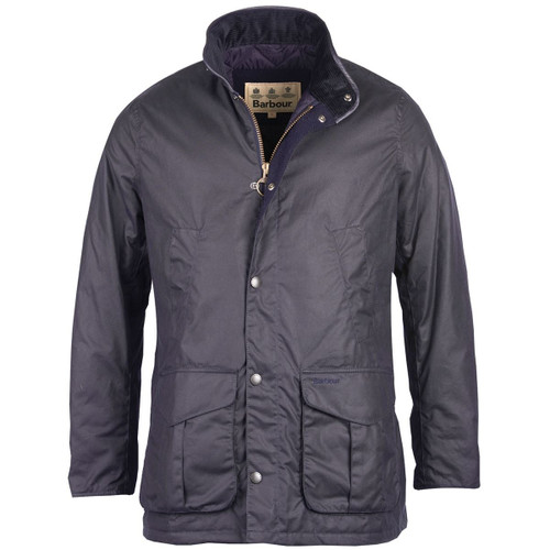 Navy Barbour Mens Hereford Wax Jacket