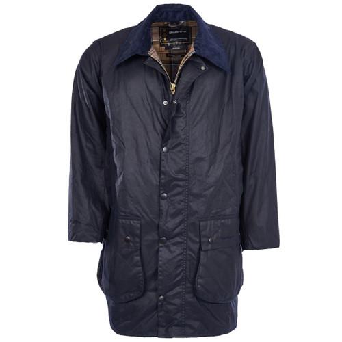 Navy Barbour Mens Border Wax Jacket
