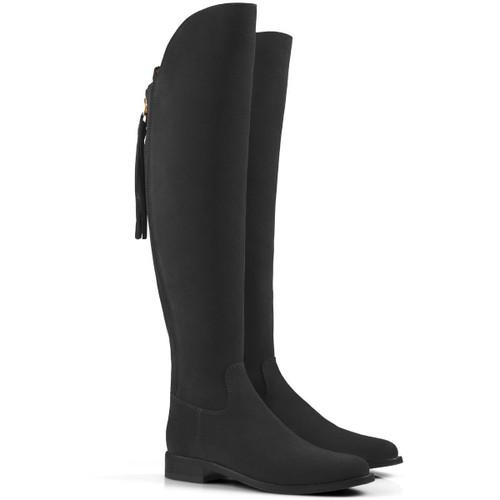 Black Suede Fairfax & Favor Flat Amira Boots