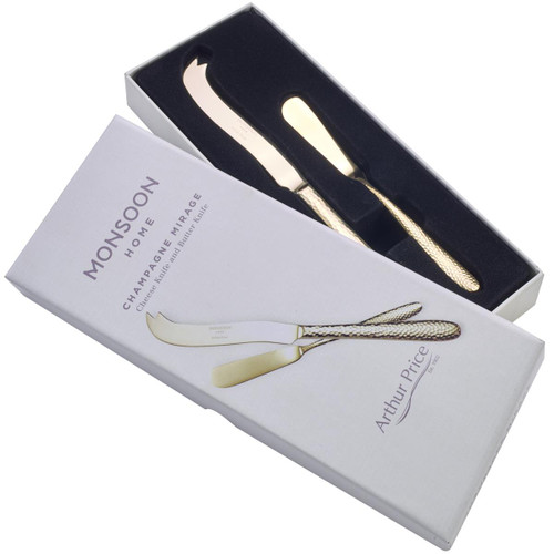 Arthur Price Monsoon Champagne Mirage Cheese & Butter Knife Set