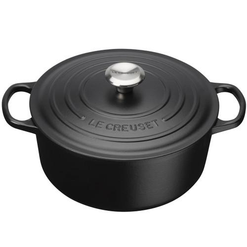 Satin Black Le Creuset 26cm Cast Iron Round Casserole