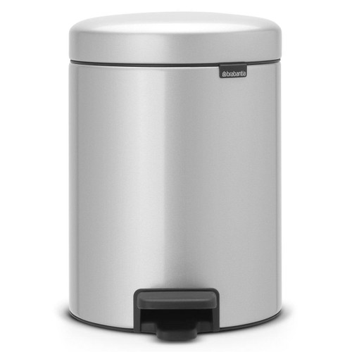 Metallic Grey Brabantia newIcon Pedal Bin 5 Litre Plastic Bucket
