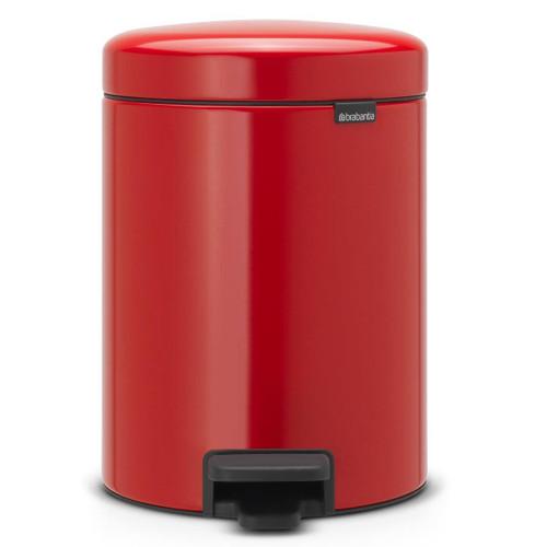 Passion Red Brabantia newIcon Pedal Bin 5 Litre Plastic Bucket