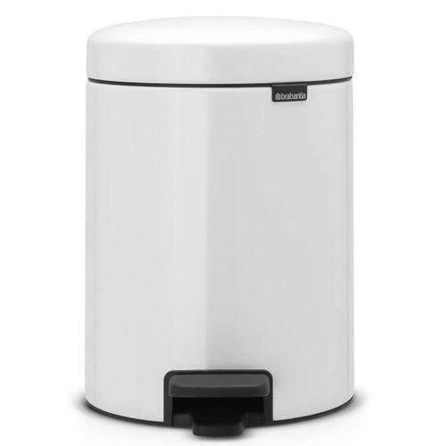 White Brabantia newIcon Pedal Bin 5 Litre Plastic Bucket