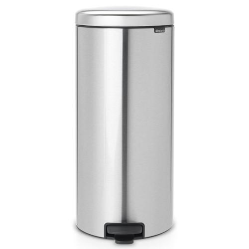 Matt Steel Fingerprint Proof Brabantia newIcon Pedal Bin 30 Litre Plastic Bucket