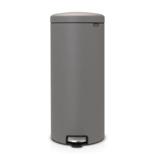 Mineral Concrete Grey Brabantia newIcon Pedal Bin 30 Litre Plastic Bucket