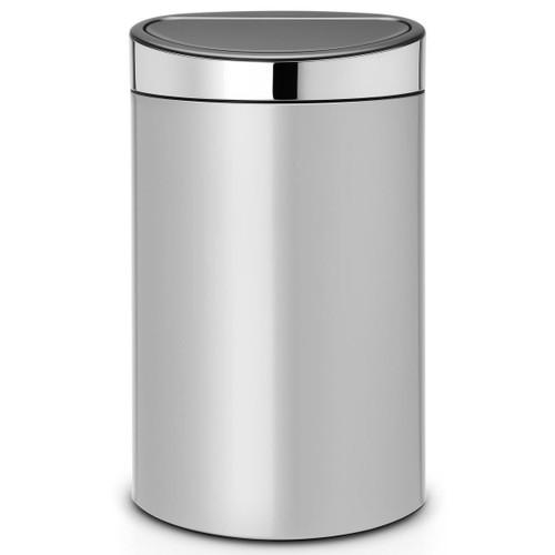 Metallic Grey With Brilliant Steel Lid Brabantia Touch Bin 40 Litre