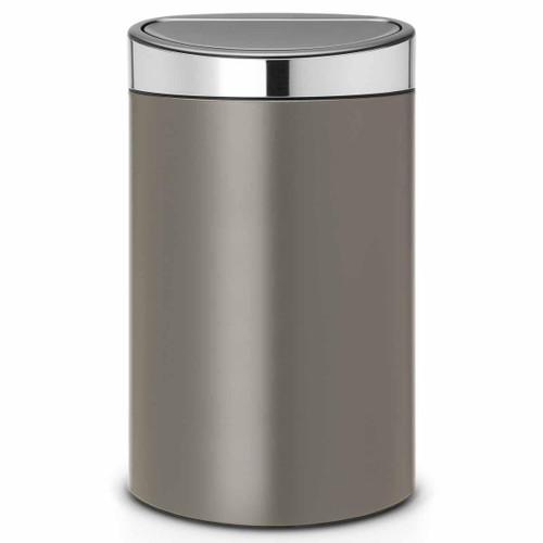 Platinum With Matt Steel Lid Brabantia Touch Bin 40 Litre