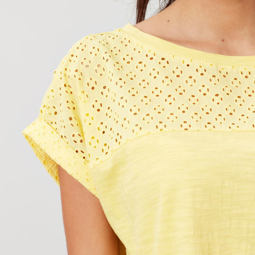 Joules Womens Cassi Fabric Mix Jersey Top