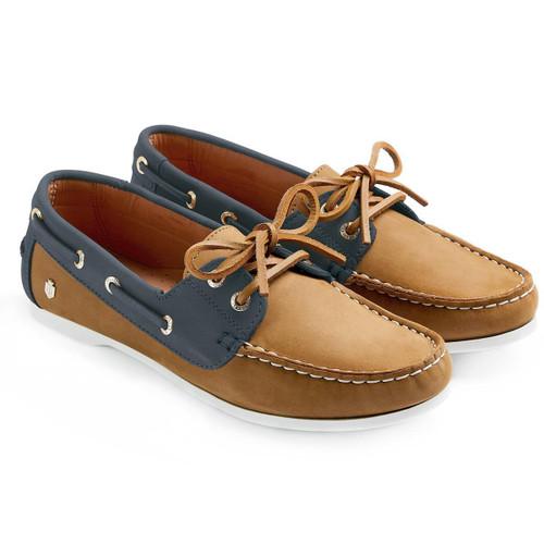 Tan & Navy Fairfax & Favor Womens Salcombe Deck Shoes