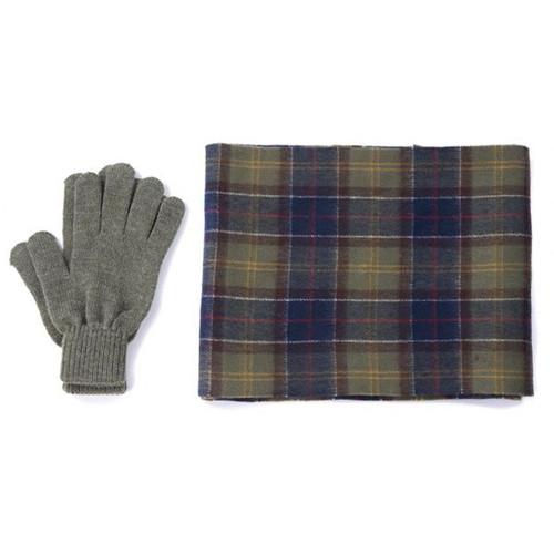 Classic Tartan Barbour Mens Tartan Scarf and Glove Gift Set