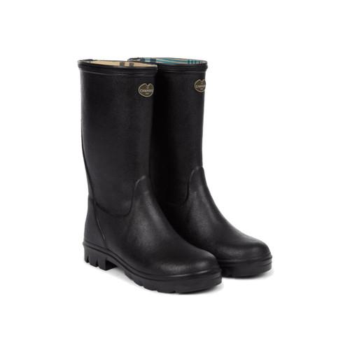Black/Cherry Le Chameau Petite Adventure Jersey Lined Boot