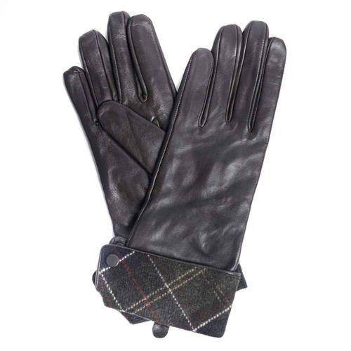 Choc/Classic Barbour Womens Lady Jane Leather Gloves