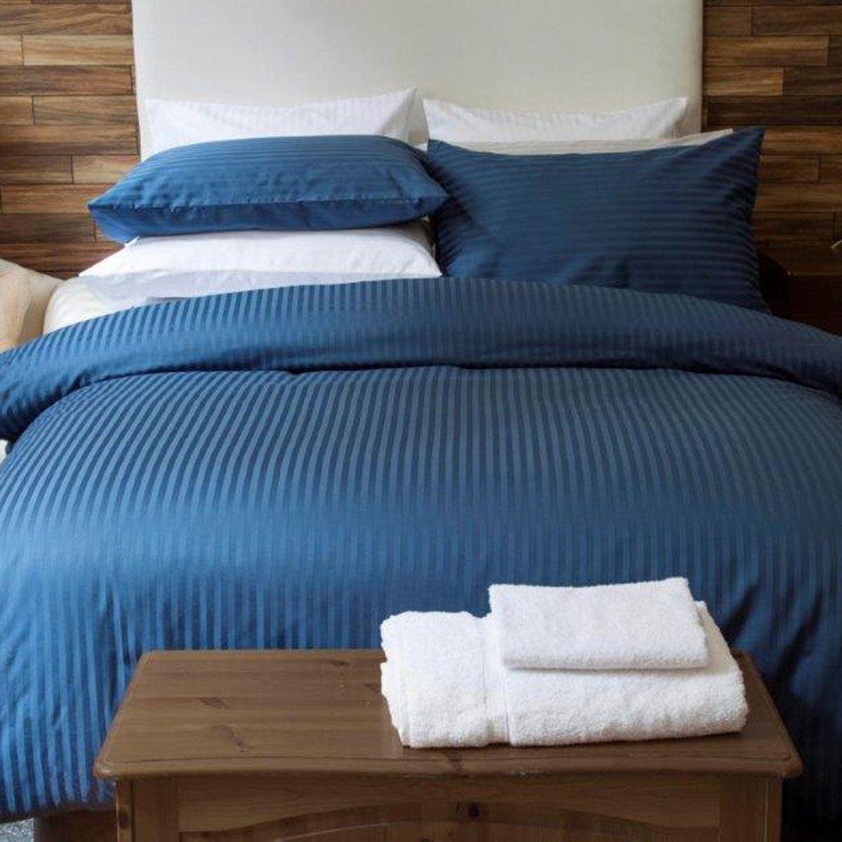 Home Textiles Belledorm Hotel Suite Satin Stripe Duvet Set Navy Double