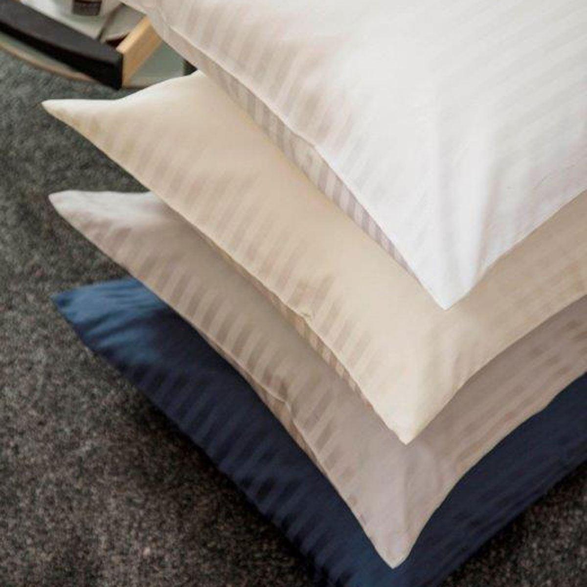 Belledorm Hotel Suite Satin Stripe Standard Pillowcase Pair Navy