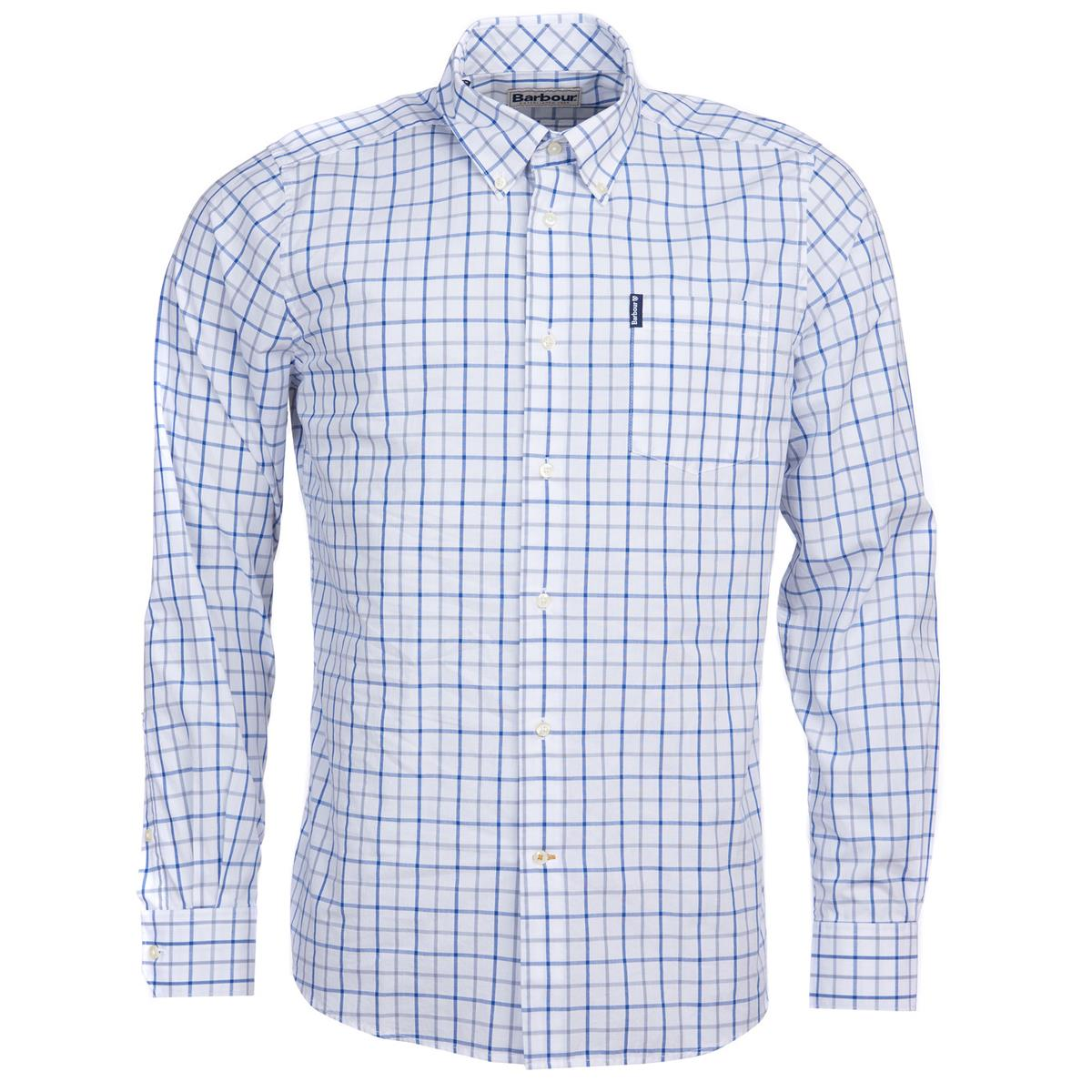Men's Tops Barbour Tattersall 13 Tailored Shirt Mid Blue XXL